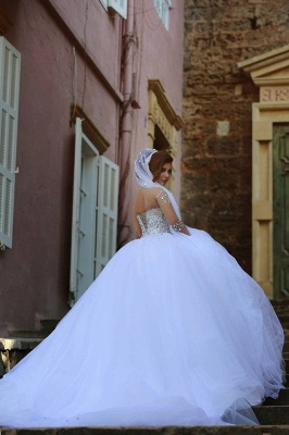 Vintage Long Sleeve Beadings Ball Gown Tulle Wedding Dress_1