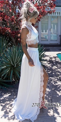Lace Two-Pieces Split Sleeveless Elegant Wedding Dress_2