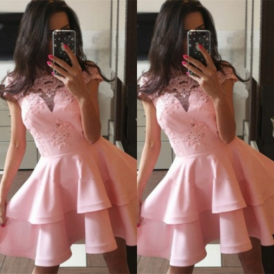 Pink Cap Sleeve 2020 Homecoming Dress | Lace Layers Sort Party Dress_3