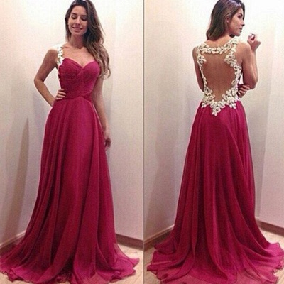 Modern Sweetheart Sleeveless Chiffon Prom Dress Spaghetti Strap Floor-length With Appliques_1