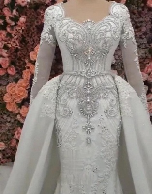 Luxurious Long Sleeves Mermaid Beading Wedding Dress | 2020 Overskirt Lace Appliques Crystals Bridal Gown_3