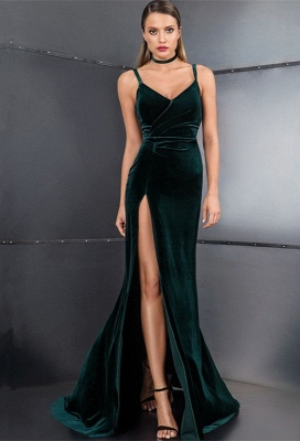 Elegant Velvet Green Prom Dresses | 2020 Slit Long Evening Gowns On Sale BC3608_1