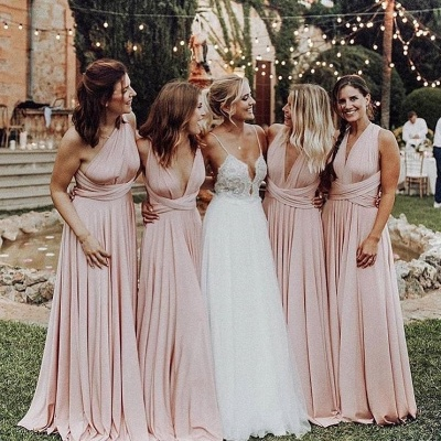 Elegant V-Neck Long Bridesmaid Dresses 2020 Ruched Maid of Honor Dress_2