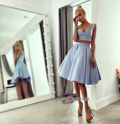 Chic Ball-Gown Knee-length Straps Light-blue 2020 Prom Dress_1