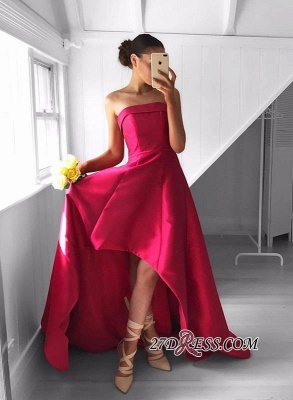 2020 Sleeveless Red Hi-Lo Sweep-Train Newest Strapless Prom Dress_3