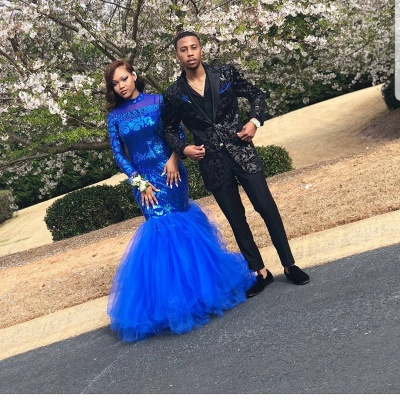 Royal-Blue Mermaid Prom Dress | Long Sleeve Sequins Party Gowns BK0_4
