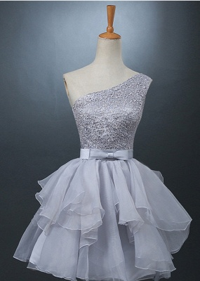 Lovely One-shoulder Short Chiffon Homecoming Dress Lace-up With Bowknot_1