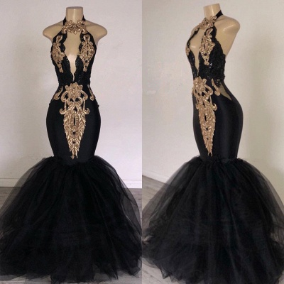 Sexy Black Halter Prom Dresses | 2020 Mermaid Appliques Keyhole Evening Gowns BC0752_2