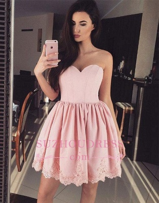 Cute Pink Sweetheart-neck Short Lace Homecoming Dress_1