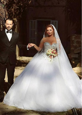 Vintage Long Sleeve Beadings Ball Gown Tulle Wedding Dress_3