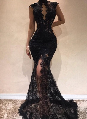 Sexy Black Lace Evening Dresses | 2020 Mermaid Cap Sleeve Prom Gowns_1