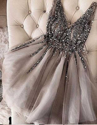 Delicate Crystals Straps Sleeveless Homecoming Dress | Short Party Gown BA9977_1