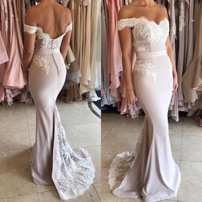 Glamorous Off-the-Shoulder Lace Mermaid 2020 Prom Dress Zipper Button Back_4
