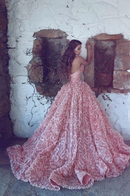 Gorgeous Sweetheart Pink Prom Dress 2020 Princess With Appliques_4