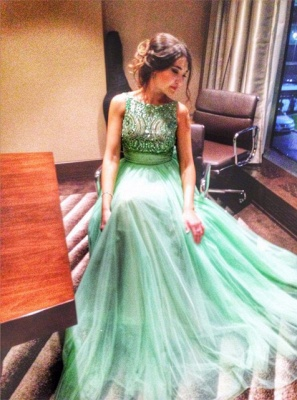 Delicate Crystals Tulle 2020 Prom Dress Bowknot A-line_4