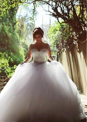 Vintage Long Sleeve Beadings Ball Gown Tulle Wedding Dress_4