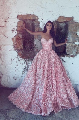 Gorgeous Sweetheart Pink Prom Dress 2020 Princess With Appliques_1