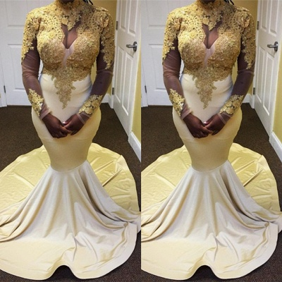 Delicate High Neck Lace Prom Dress | Gold Evening Gown BK0 BA9179_3