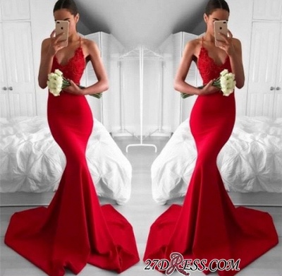 Lace V-Neck Long Red Mermaid Lace Sexy Prom Dress_1