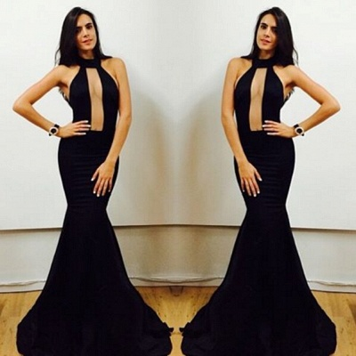 Sexy Black High-Neck Mermaid Prom Dresses 2020 Floor Length Evening Gowns_3