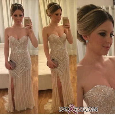 2020 Stunning Beadings Sweetheart Sleeveless Split Prom Dress_1