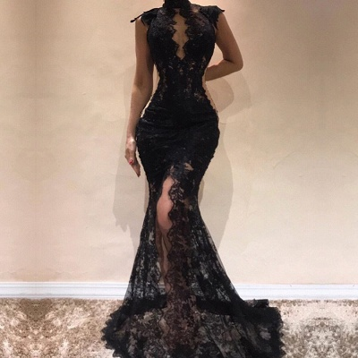 Sexy Black Lace Evening Dresses | 2020 Mermaid Cap Sleeve Prom Gowns_2