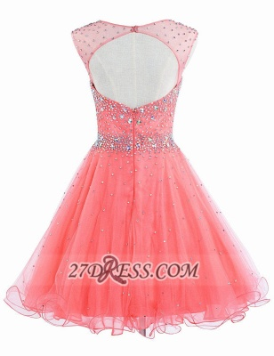 Lovely Illusion Cap Sleeve Short Homecoming Dress Beadings Crystals Zipper Cocktail Gown_2