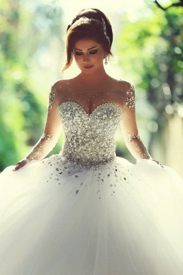 Vintage Long Sleeve Beadings Ball Gown Tulle Wedding Dress_6