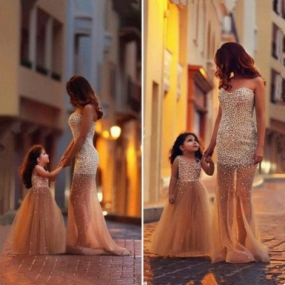 Beautiful Beadings Sheer Skirt 2020 Prom Dress Sweetheart Sleeveless Mother and Daughter Dress_2