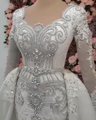 Luxurious Long Sleeves Mermaid Beading Wedding Dress | 2020 Overskirt Lace Appliques Crystals Bridal Gown_4