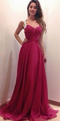 Modern Sweetheart Sleeveless Chiffon Prom Dress Spaghetti Strap Floor-length With Appliques_3