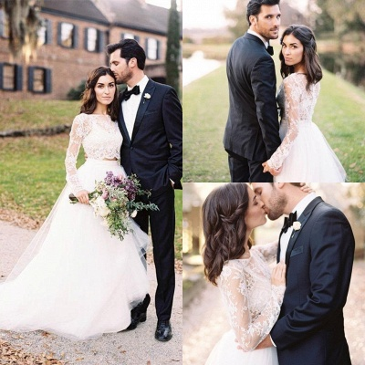 Dreamy Long Sleeve Lace 2020 Wedding Dress Lace Tulle Two Pieces_6