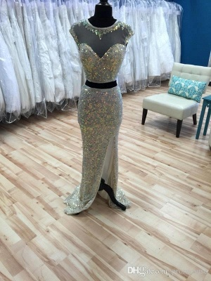 Glamorous Cap Sleeve Sequins Prom Dresses 2020 Two Pieces Slit Beadings_4