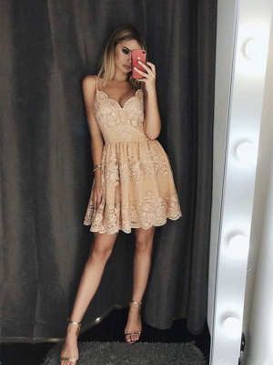 Newest Lace Spaghetti Strap Homecoming Dress | A-line Short Party Gown_2