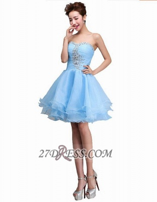 Elegant Semi-sweetheart Sleeveless Short Cocktail Dress Beadings Crystals Lace-up Ruffles Homecoming Gown_3