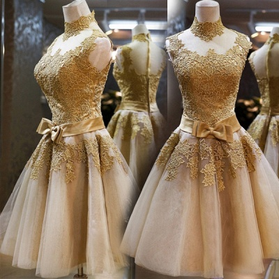 Gorgeous High Neck Sleeveless Golden Appliques Tulle Short Prom Dress_4