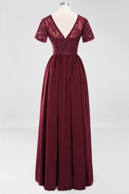 Elegant Crew Short Sleeves Burgundy Prom Dress   2020 Lace Long Evening Gowns With Zipper_3