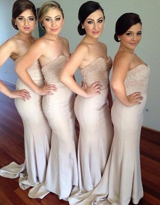 Elegant Sweetheart Beadings Bridesmaid Dress 2020 Long Mermaid_2