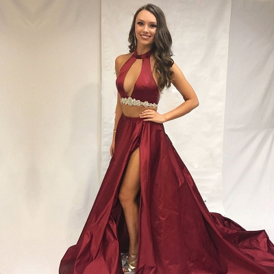 Burgundy two-pieces prom dress, long evening dress with slit_3