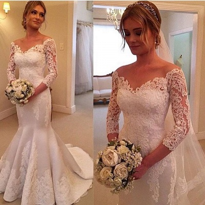 Modern Off-the-shoulder 3/4-longth-sleeve Mermaid Wedding Dress With Lace Appliques_2