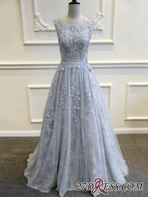 Long A-line Lace-Appliques Backless Sleeveless Prom Dresses BA5343_2