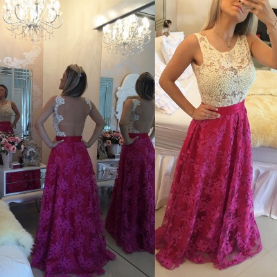 Glamorous Sleeveless Lace Pearls Prom Dresses 2020 Long Party Gowns BT0_4