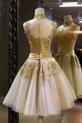 Gorgeous High Neck Sleeveless Golden Appliques Tulle Short Prom Dress_2