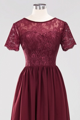 Elegant Crew Short Sleeves Burgundy Prom Dress   2020 Lace Long Evening Gowns With Zipper_5
