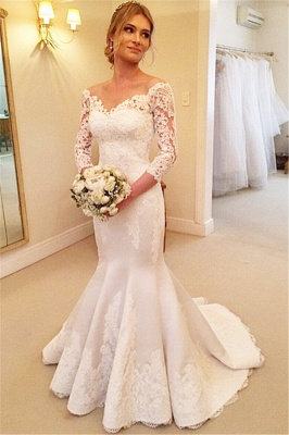 Modern Off-the-shoulder 3/4-longth-sleeve Mermaid Wedding Dress With Lace Appliques_1