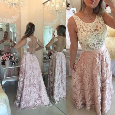 Glamorous Sleeveless Lace Pearls Prom Dresses 2020 Long Party Gowns BT0_5