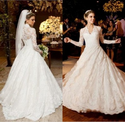 Elegant V-neck Long Sleeve Lace Wedding Dress Ball Gown_3