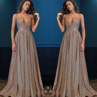 Gorgeous V-Neck Spaghetti-Straps 2020 Prom Dresses | Long Sequins Evening Gown BC0494_2