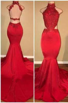 Red Lace 2020 Prom Dress   Mermaid Long Evening Gowns_1