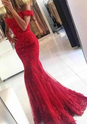 2020 Appliques Off-the-shoulder Red Lace Glamorous Mermaid Evening Dress_1